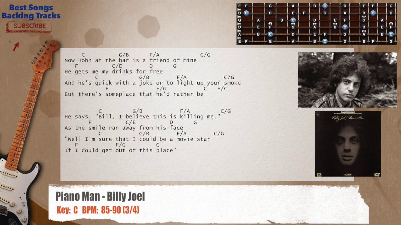 Piano Man Billy Joel Guitar Backing Track With Chords And Lyrics