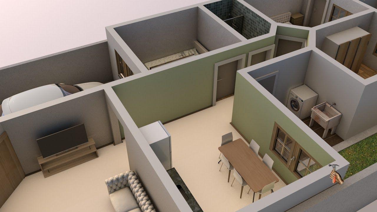 Planta De Casa Em 3d Dois Quartos Com Visualiza O Interior Carro
