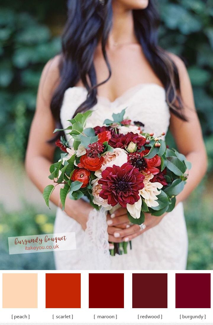 Burgundy wedding bouquet | itakeyou.co.uk #bouquet #weddingbouquet #bridalbouquet #autumn #autumnbouquet