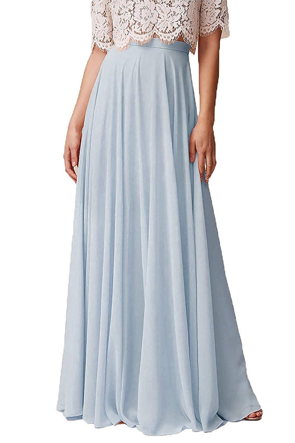 bf3fe995d9 Honey Qiao Chiffon Bridesmaid Dresses High Waist Long Woman Maxi Skirt at  Amazon Women's Clothing store: