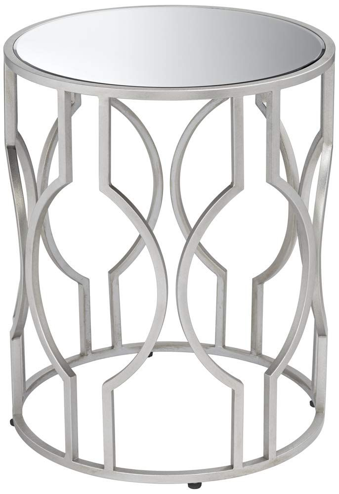 55 Downing Street Fara Mirrored Top And Silver Openwork Round End Table Luxury Home Furniture