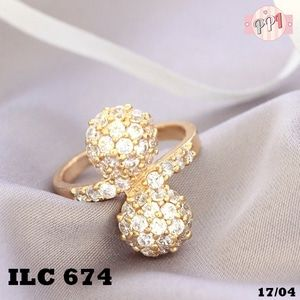 Lapis Emas Cincin Berlian Bola Kembar Permata Zircon Gold 18k LC674