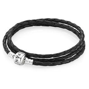 pandora bracelet cuir noir triple - Recherche Google