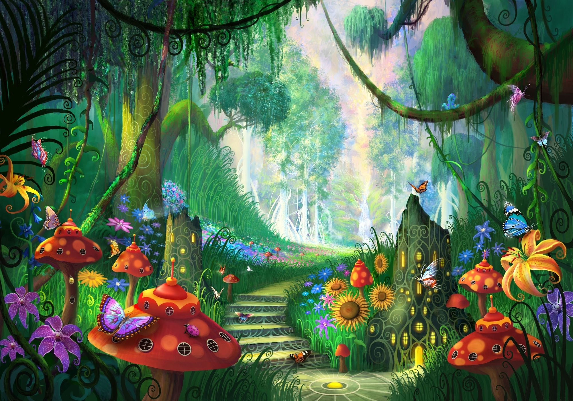 Image result for enchanted forest garden wall murals