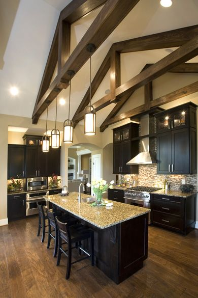 Kitchen lighting vaulted ceiling kimberly ann homearama for Half vaulted ceiling with beams