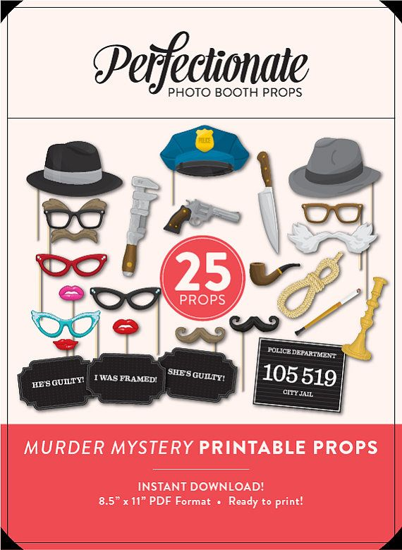 DIY Murder Mystery Props | 26 Full Size Printable Props | Instant ...