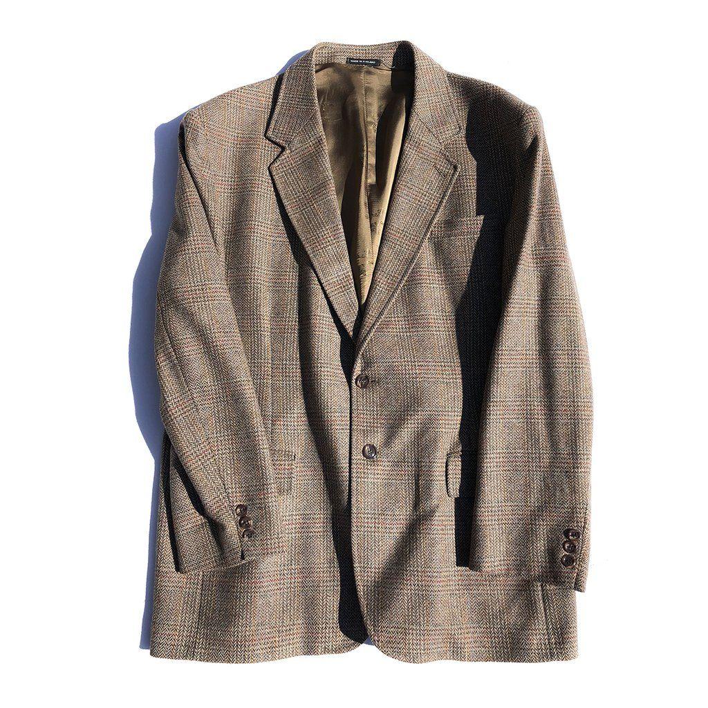 9905a976 Orvis Men's Wool Herringbone Plaid Brown Blazer Jacket Sport Coat ...