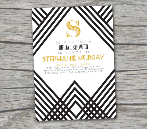 gatsby art deco bridal shower invitation digitalprintable gatsby artdeco etsy