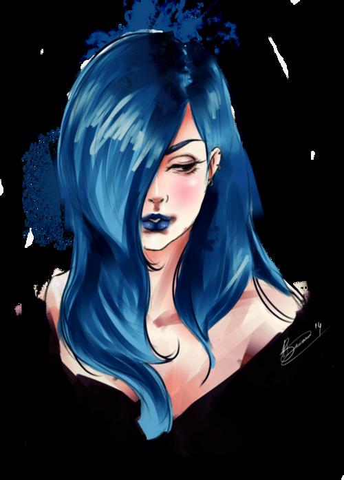 Blue Hair Blue Drawings Beautiful Dark Art Girl Drawing