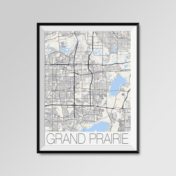 GRAND PRAIRIE City Map Print Modern City Poster Texas by PFposters
