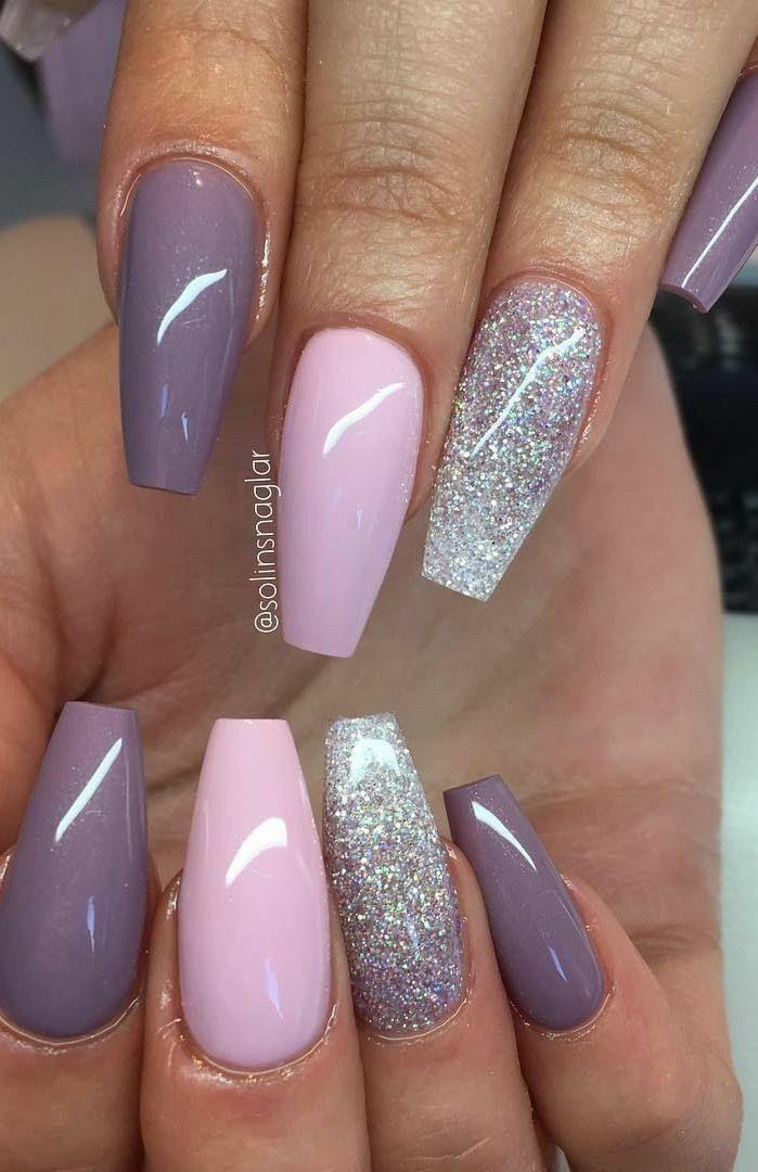 Ballerina Nails Pink And Purple Nails Silver Nails Acrylic Nails Gel Nails Purple Nails Nail Designs Silver Nails