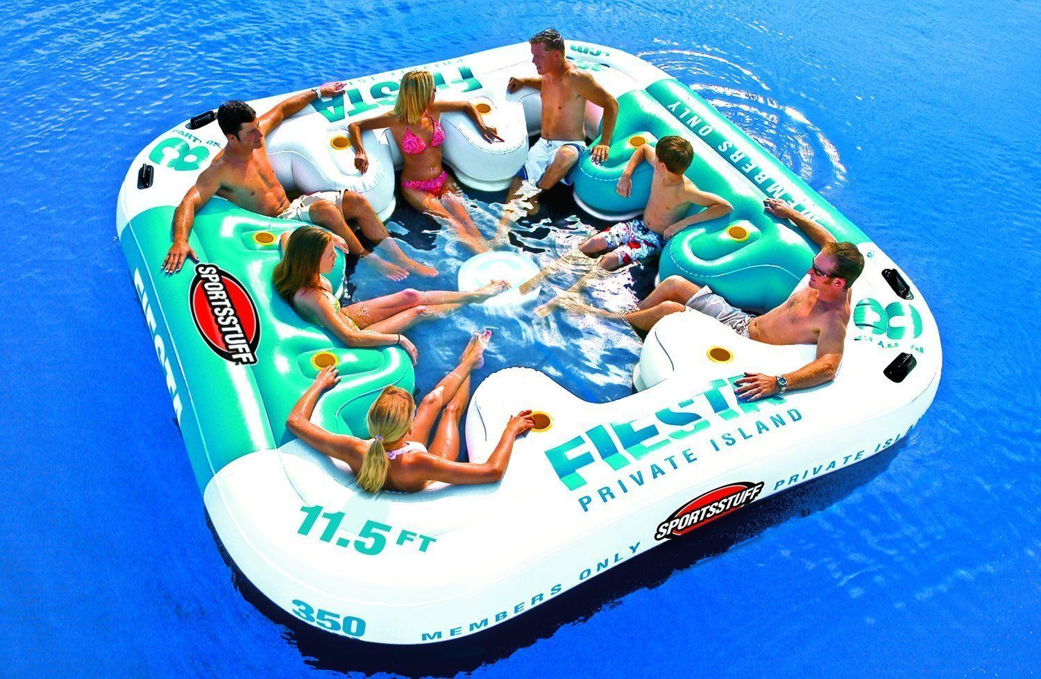 Floating Lounge Ahh-Qua Bar 4-Person Pool Island Float Party Bar Inflatable Raft
