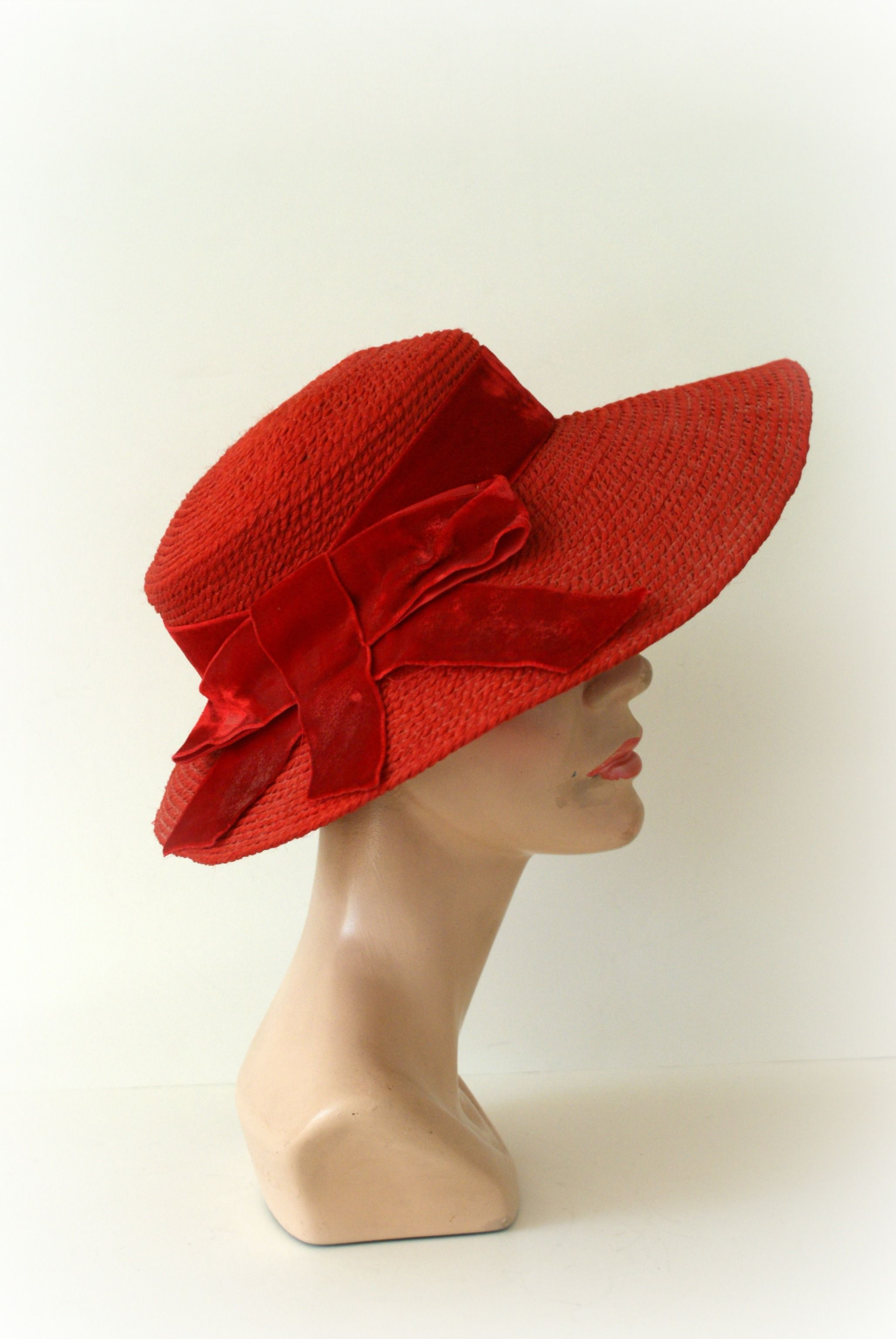 Vintage 1950s Wide Brim Hat - Red Sun Hat from Sweetbeefinds  1d645c0a3f25