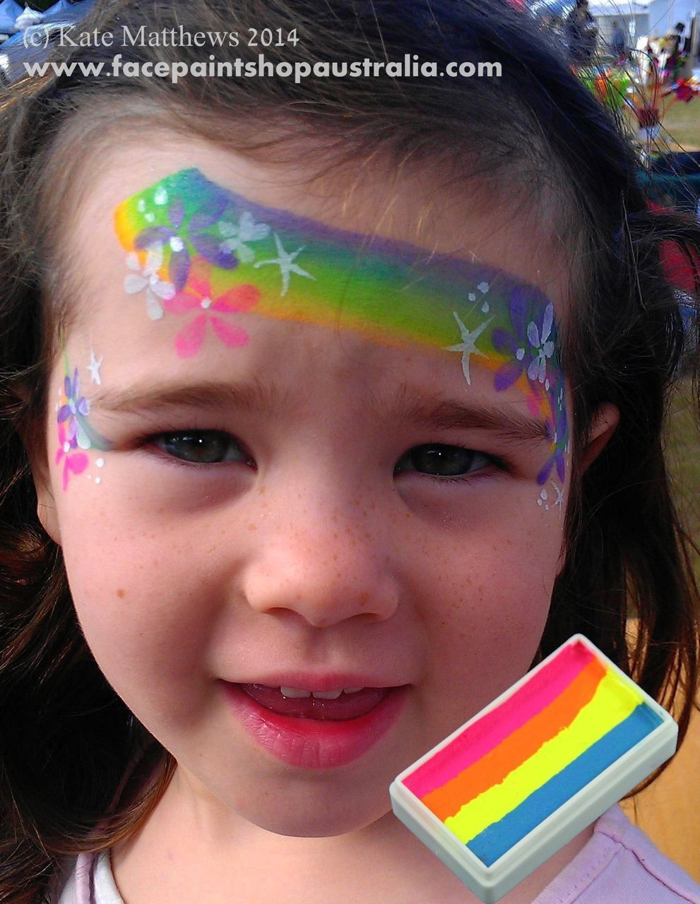 Fast rainbow face painting for girls with flowers using TAG neon cocktail