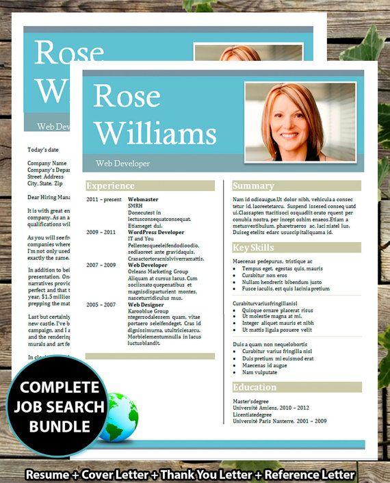 resume template cv template bold header resume design instant download word document