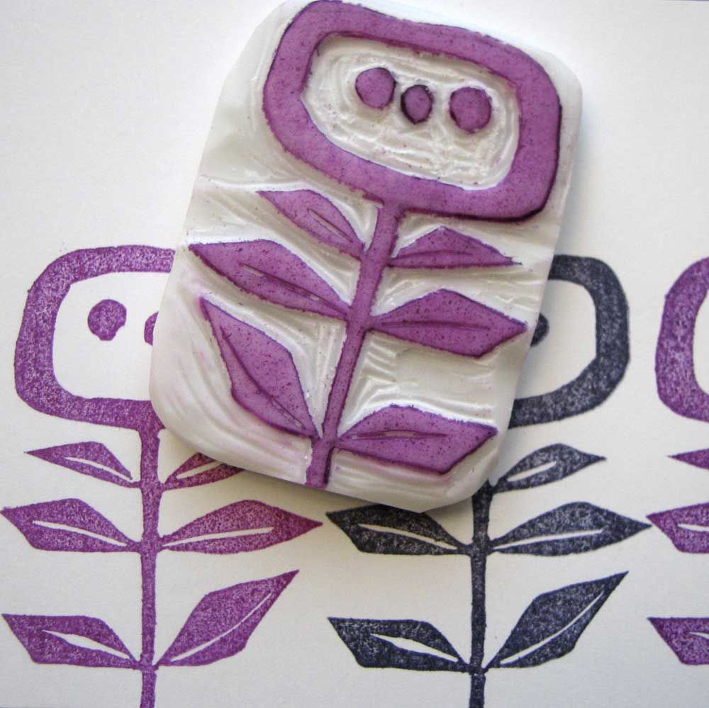Styrofoam stampmaking art with kids stamps