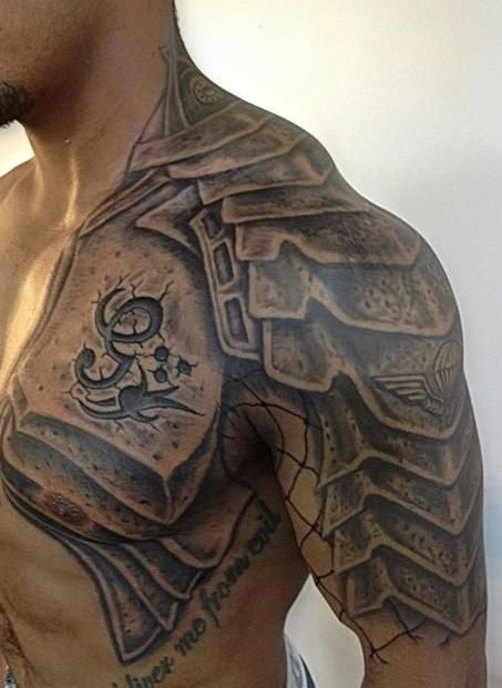 Men Chest And Upper Sleeve With Nice Flowers Tattoo: Gladiator Armor Tattoo On Chest And Shoulder