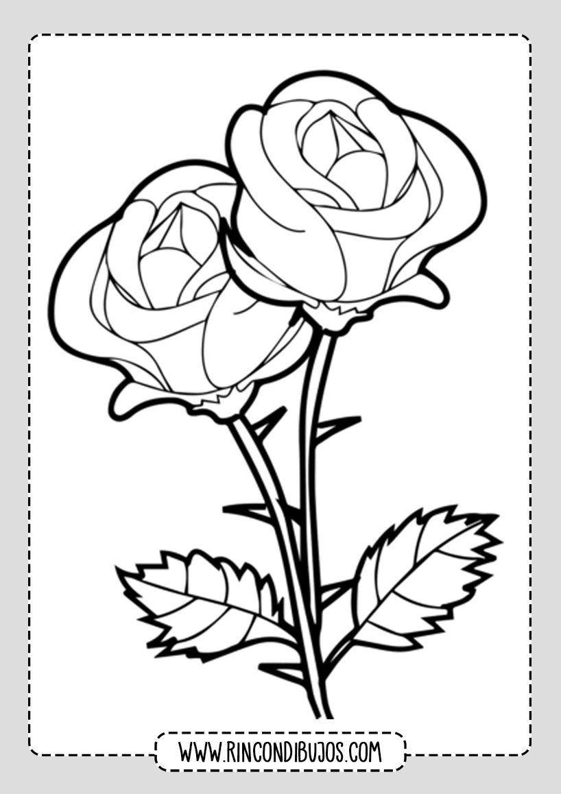 Dibujos De Rosas Para Colorear Rincon Dibujos Dibujo De Rosa Fácil Dibujos De Rosas Páginas Para Colorear De Flores
