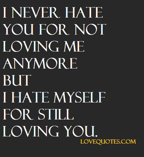 I Still Love You Quotes I Never Hate You For Not Loving Me Anymore But I Hate Myself For