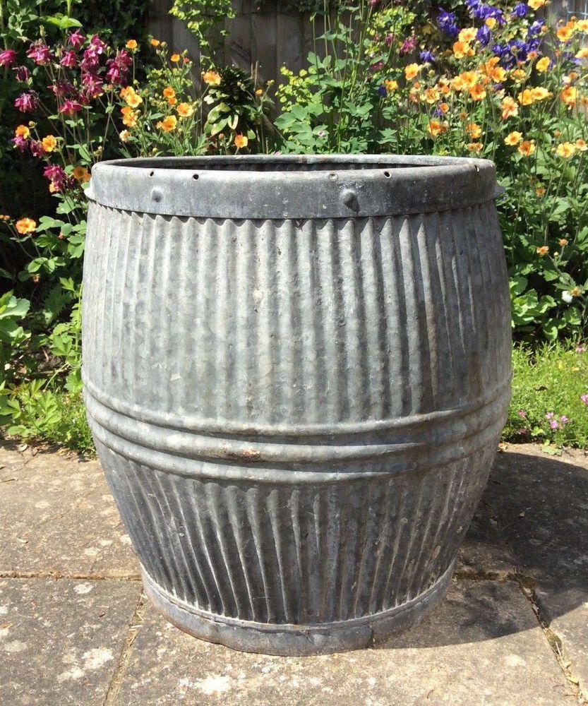 C1931 Antique Vintage Galvanised Zinc Metal Dolly Peggy Wash Tub Planter Ebay Barrel Planter Vintage Garden Planters