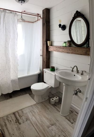 20 Clever Pedestal Sink Storage Design Ideas Bathroom Farmhouse