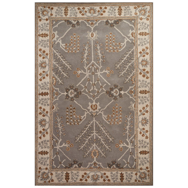 Juniper Home Chantilly Handmade Floral Gray/ Beige Area Rug (5' X 8') (5' x 8'), Grey, Size 5' x 8' (Wool, Oriental)