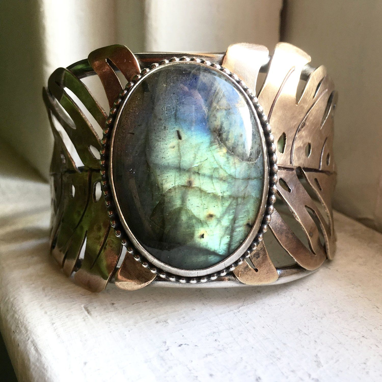Handmade Hammered Sterling Silver and Brass Labradorite Cuff Bracelet