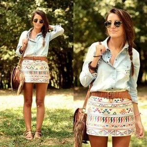 light denim shirt + tribal pattern skirt