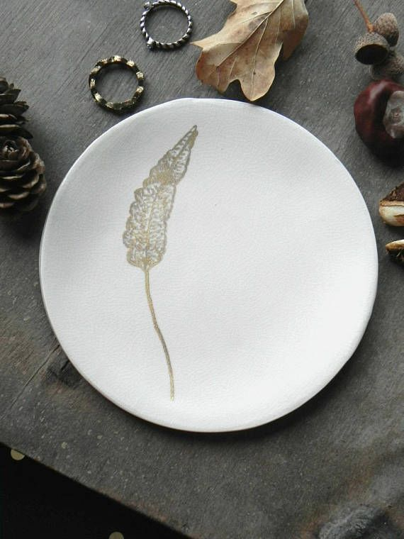 White and gold leaf ring dish