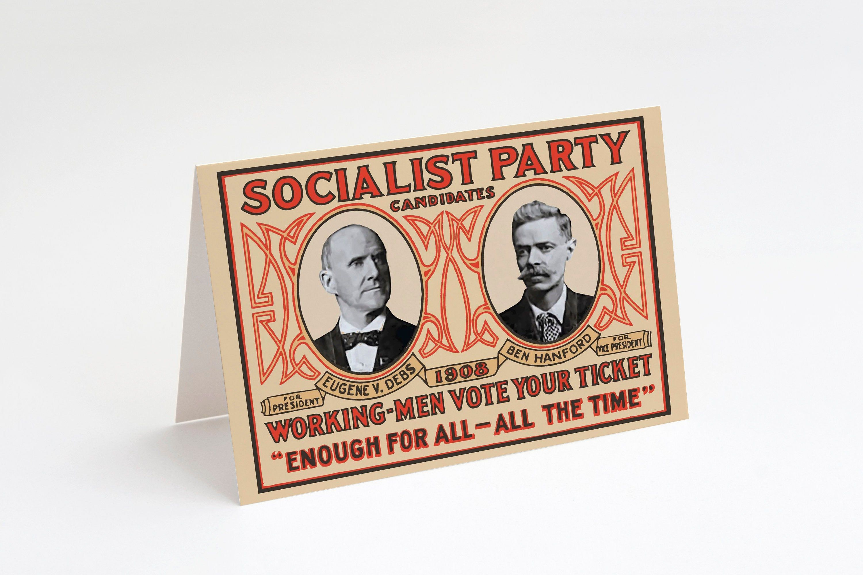 Socialist Party 1908 Campaign Poster Notecard 5x7 A7 Printable Blank Card Leftist Edwardian Socialism Printable Note Cards Campaign Posters Retro Printables