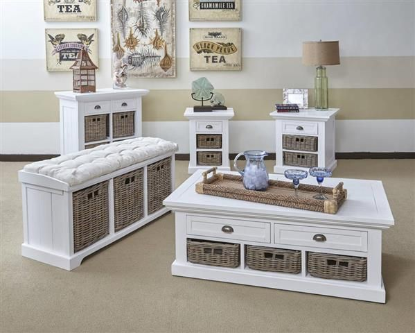 Merveilleux Natural Origins Grey White Wood Coffee Table Set