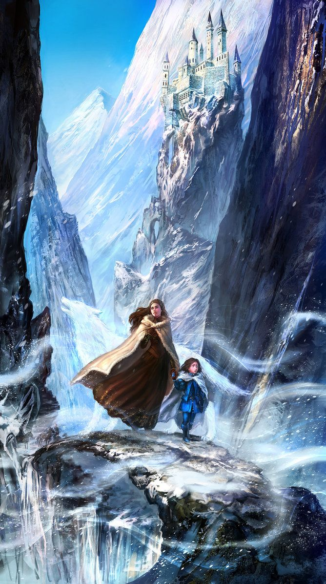 """The Ghost Wolf by anndr   Fan Art / Digital Art / Painting & Airbrushing   Fantasy   Author's note: """"This painting illustrates Sansa's descent from the Eyrie, and the specific moment where she and Sweetrobin display remarkable courage in making it across the narrow icy strip together. As the strong winds blow, Sansa thinks they sound like a ghost wolf, and this could offer provocative foreshadowing on the role her true identity and Northern ties will play in the upcoming novels."""""""