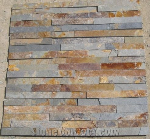 Natural Rustic Slate Cultured Stone Exterior Wall Tile Rusty
