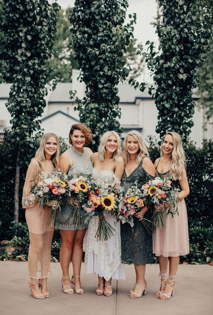 86d3e706467 44 Long Bridesmaid Dresses That You Will Absolutely Love - mismatched bridesmaid  dresses in blush and sage with sunflower bouquets   bridesmaids bridesmaid  ...