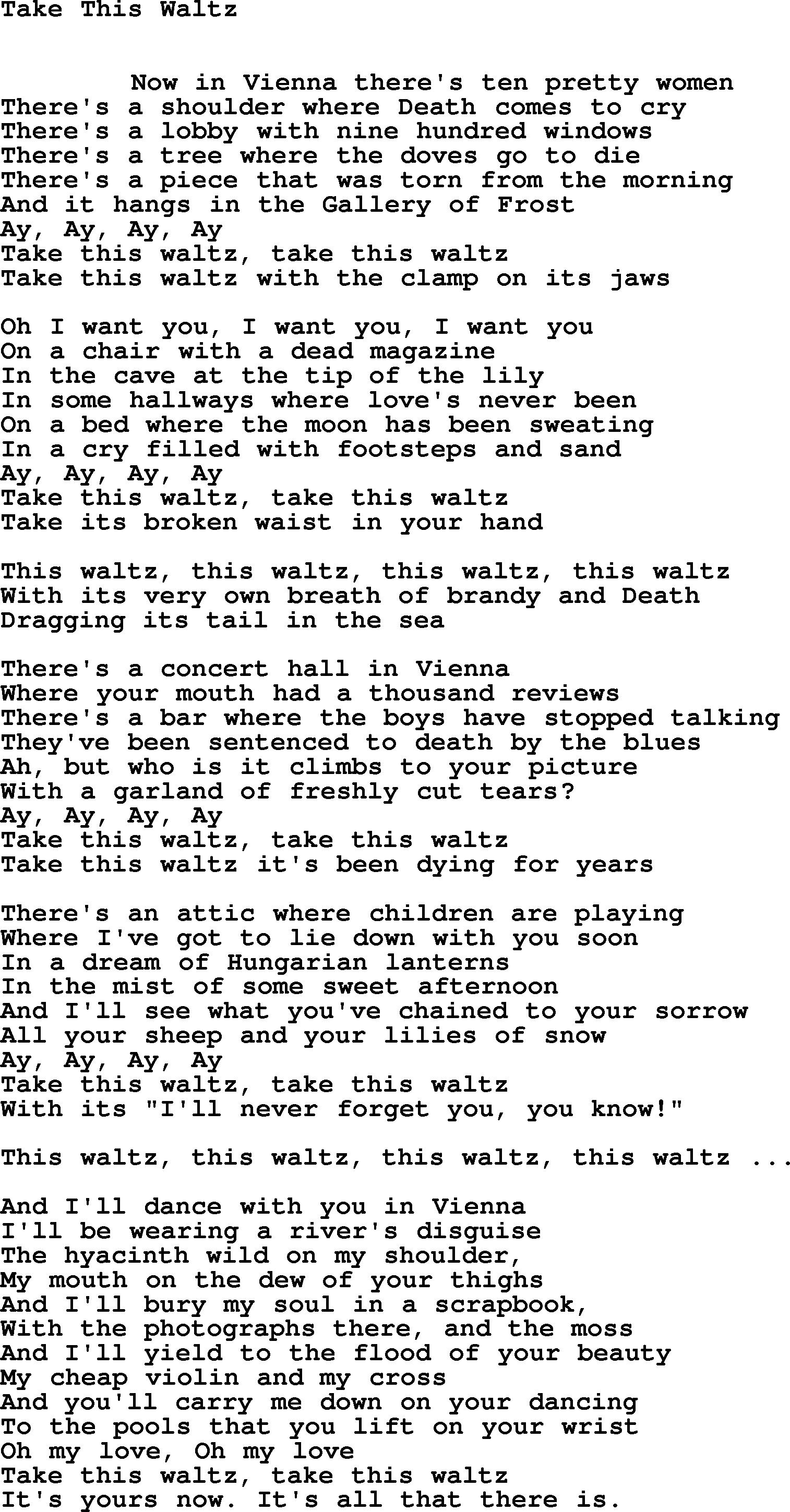Leonard Cohen song Take Waltz leonard cohen lyrics