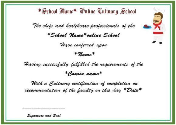 Online Culinary School Certificate | Cook Certificate | Pinterest ...