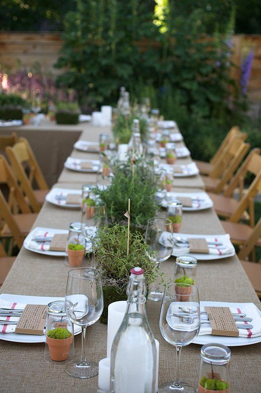 Jaala Gallery Farm To Table Dinner In The Garden With An Herb Flare Dinner Table Decor Party Table Settings Dinner Party Table