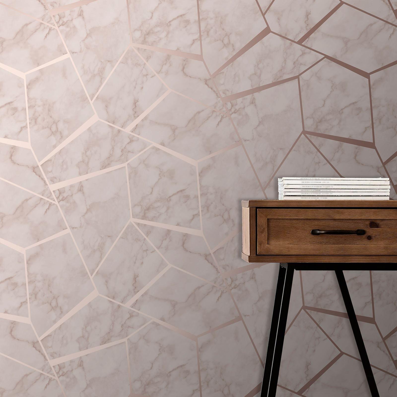 Rotgold-Pink-Grau-Beige-Tapete-Streifen-Geometrisch-Damast