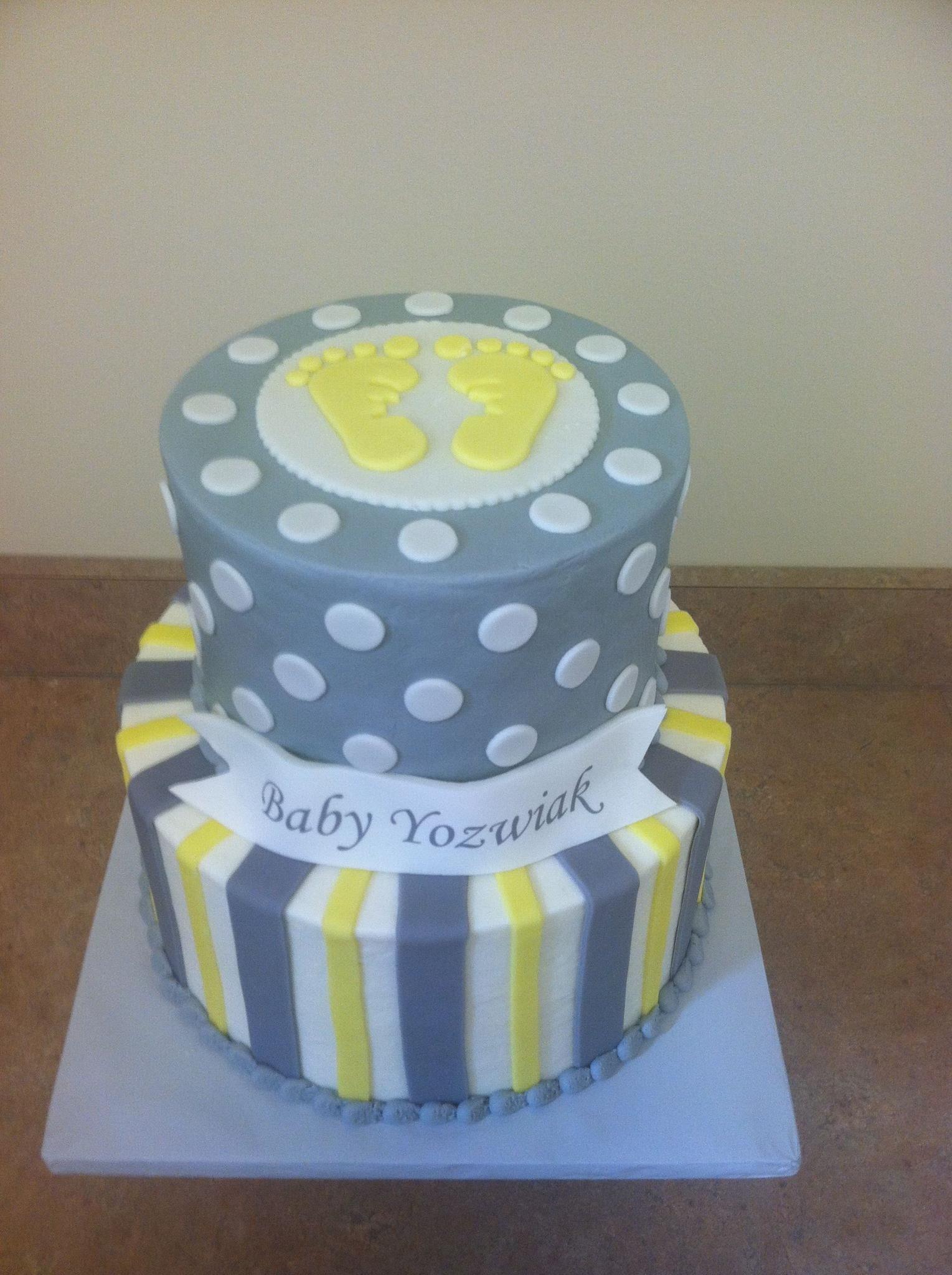 Grey & Yellow Baby Shower Cake | Baby Shower Cakes ...