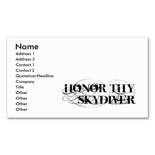 Honor Thy Skydiver Business Card Parachutist Business Cards - business quotation sample