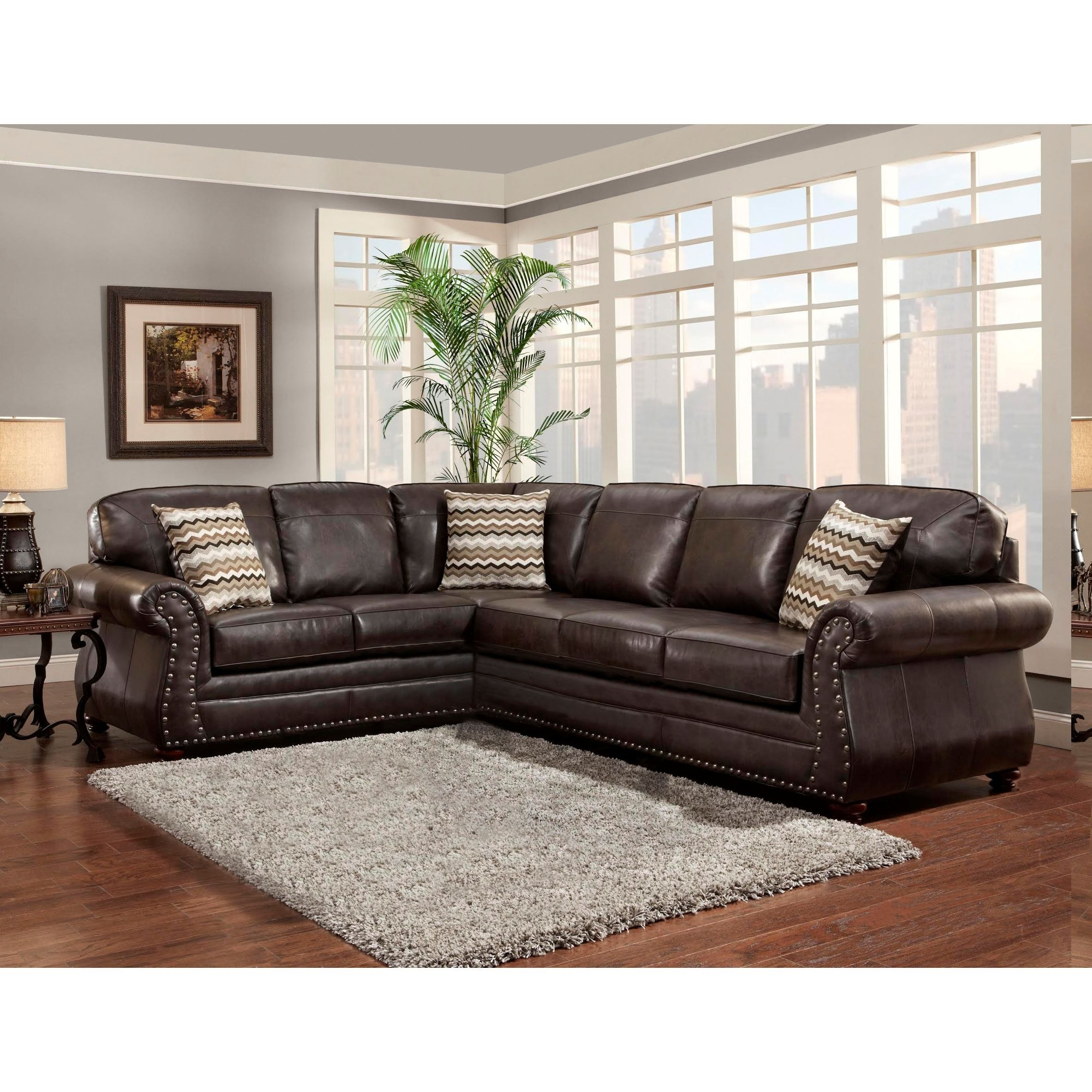 Beige Brown Grey Taupe Leather 1500 Sectional Sofas