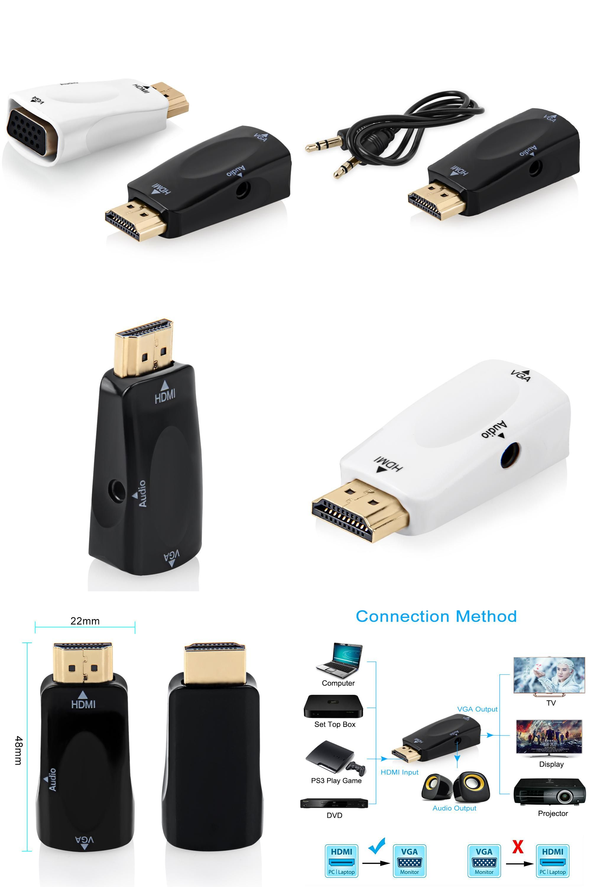 Visit To Buy Hdmi Vga Adapter 1080p Male Female Full Hd And Audio For Hdtv Monitor Converter
