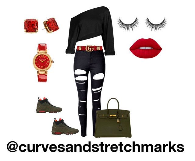"""""""Ivette's style"""" by ivette-mamii-zerquera ❤ liked on Polyvore featuring WithChic, NIKE, Hermès, Gucci, Versace, Kate Spade and Lime Crime"""