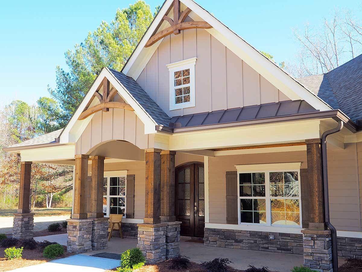 Plan dk craftsman house plan with angled garage craftsman