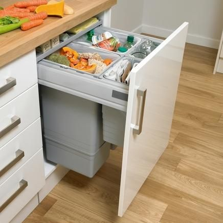 Large Integrated Recycling Bin Kitchen Waste Management Howdens Joinery Kitchen