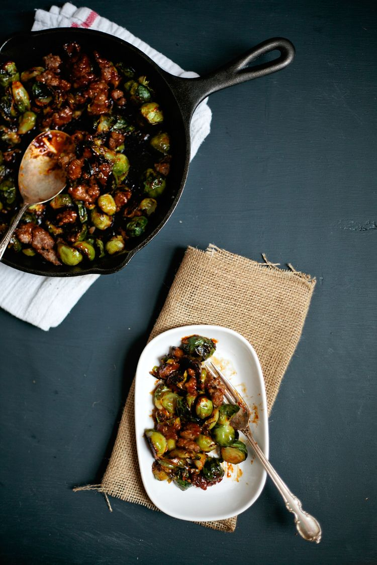 RECIPE: ROASTED BRUSSELS SPROUTS WITH SAUSAGE AND GOCHUJANG