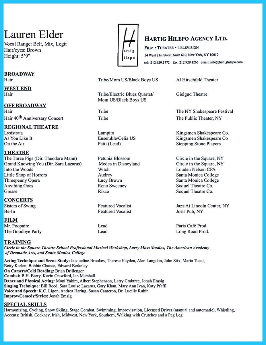 nice Amazing Actor Resume Samples to Achieve Your Dream