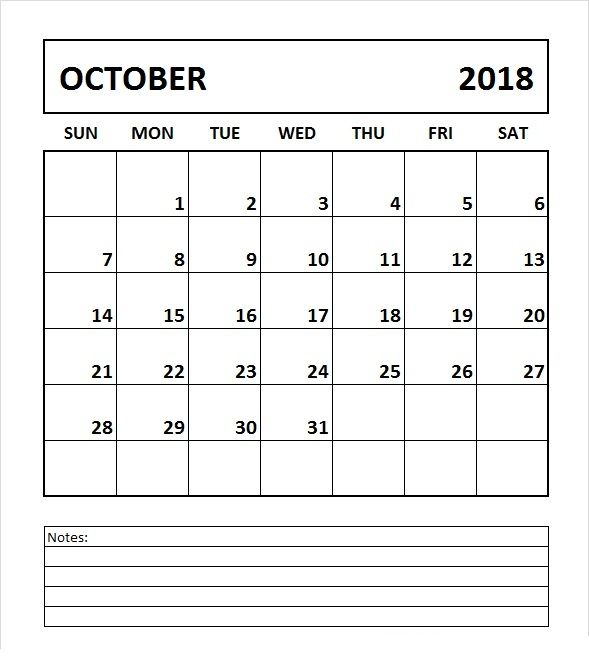 October 2018 Calendar Printable Template October 2018 Calendar