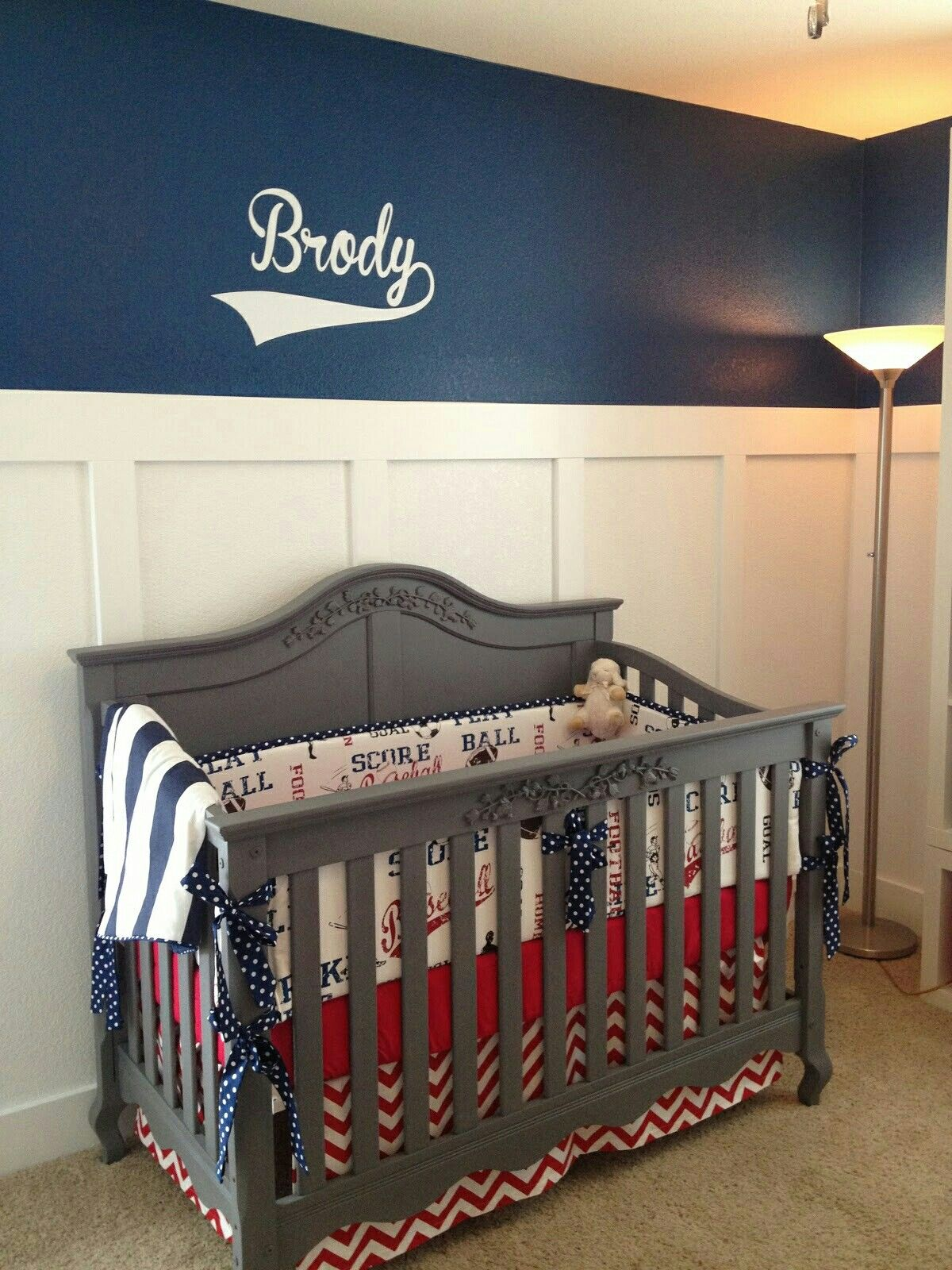 Dodgers Baby Nursery Vintage Baseball Theme Crib Bedding