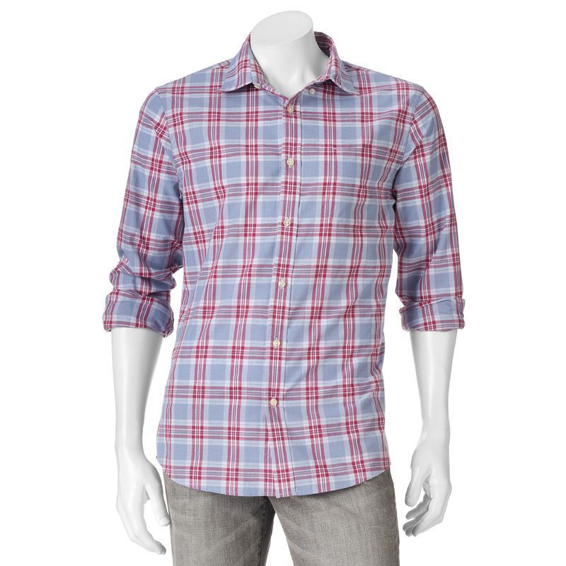 "c4551a97da Men's SONOMA Goods for Lifeâ""¢ Modern-Fit Poplin Button-Down Shirt, Size:  XXL, Med Red"